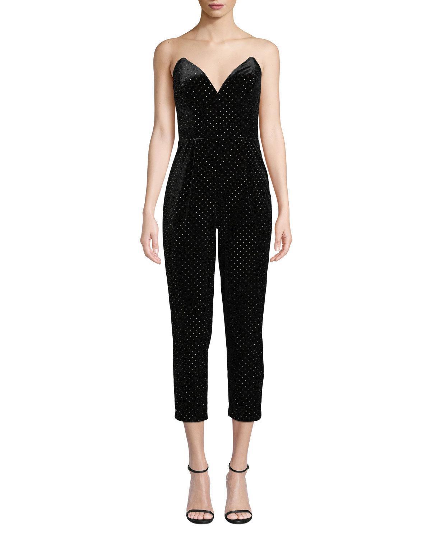 1618fd57f704 Lyst - Amanda Uprichard Viv Strapless Velvet Cropped Jumpsuit in Black