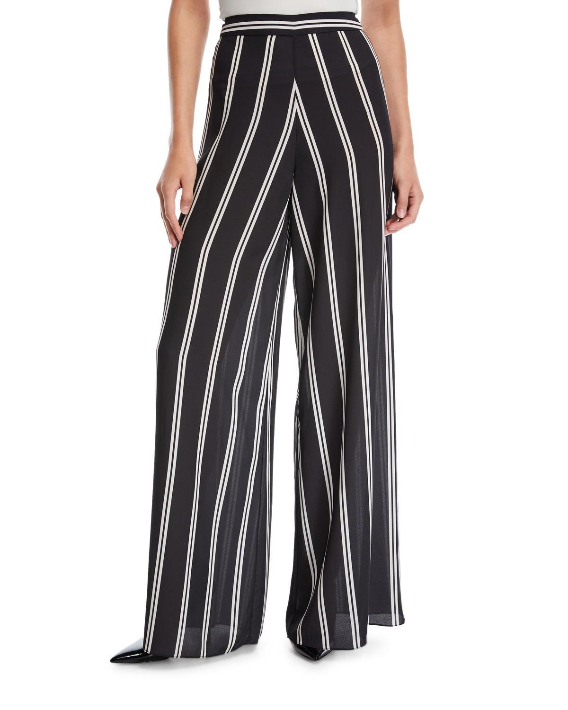 striped wide leg trousers - Black Alice & Olivia HVUkqWM3J