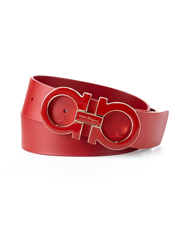 Ferragamo Large Enamel Gancini Buckle Belt In Red For Men