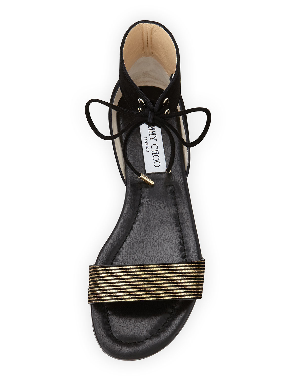 Lyst Jimmy Choo Nanson Striped Flat Sandal In Black