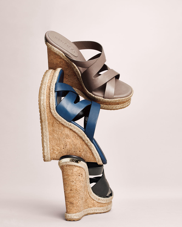 f74bf3fe75b5 Lyst - Jimmy Choo Prisma Vachetta Wedge Sandal in Blue