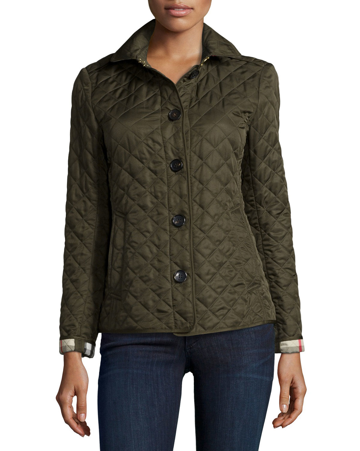 Burberry Brit Ashurst Diamond Quilted Jacket In Green Lyst