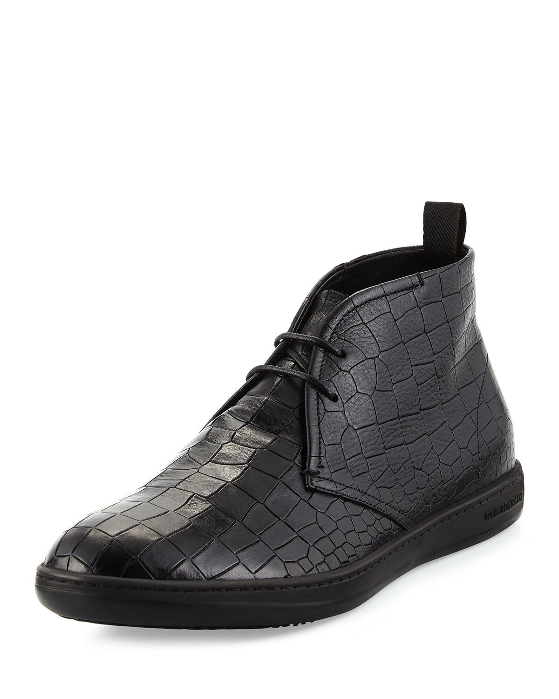 Giorgio Armani Croc Stamped Leather Chukka Boot In Black