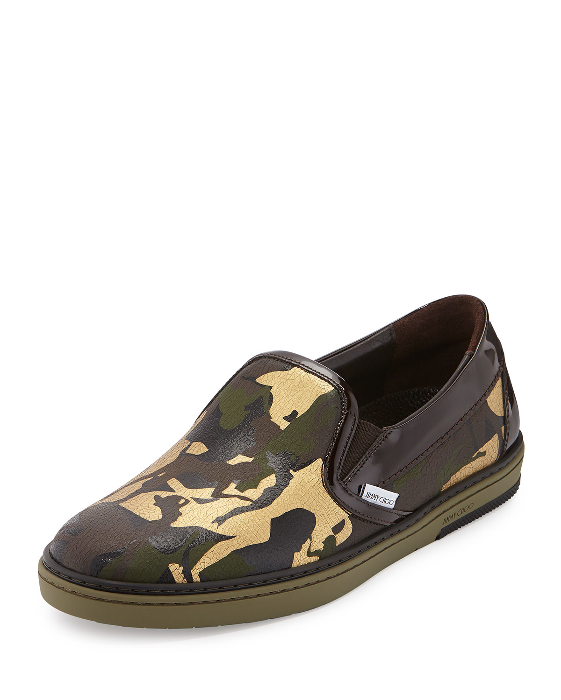 jimmy choo grove s camo print slip on sneaker in green