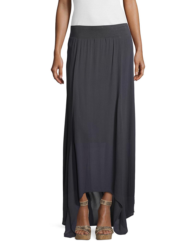 xcvi flowy crepe maxi skirt in blue lyst