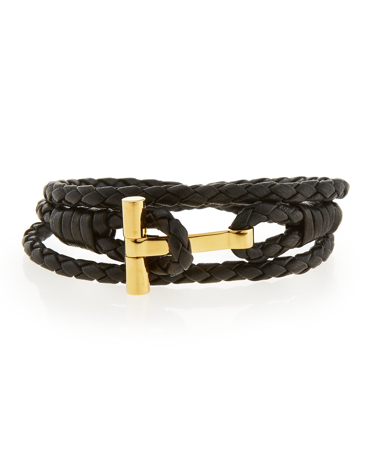 tom ford s leather t wrap bracelet in metallic for