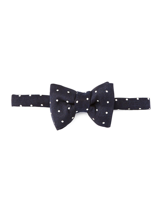 tom ford herringbone polka dot bow tie in black for lyst