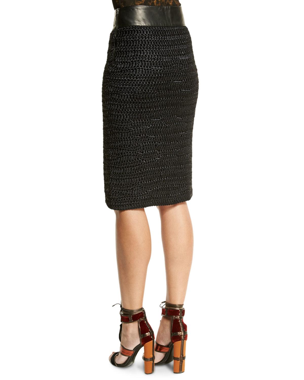 tom ford leather waist crochet pencil skirt in black lyst