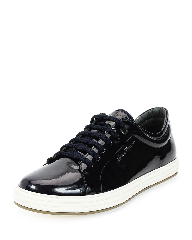 Lyst - Ferragamo Newport Patent-Leather Low-Top Sneakers ... Giuseppe Zanotti Sneakers Blue