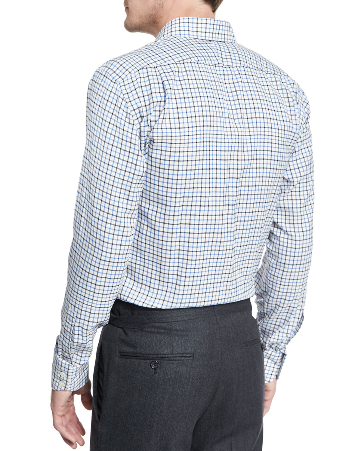 Tom ford tattersall check dress shirt in teal for men for Teal mens dress shirt