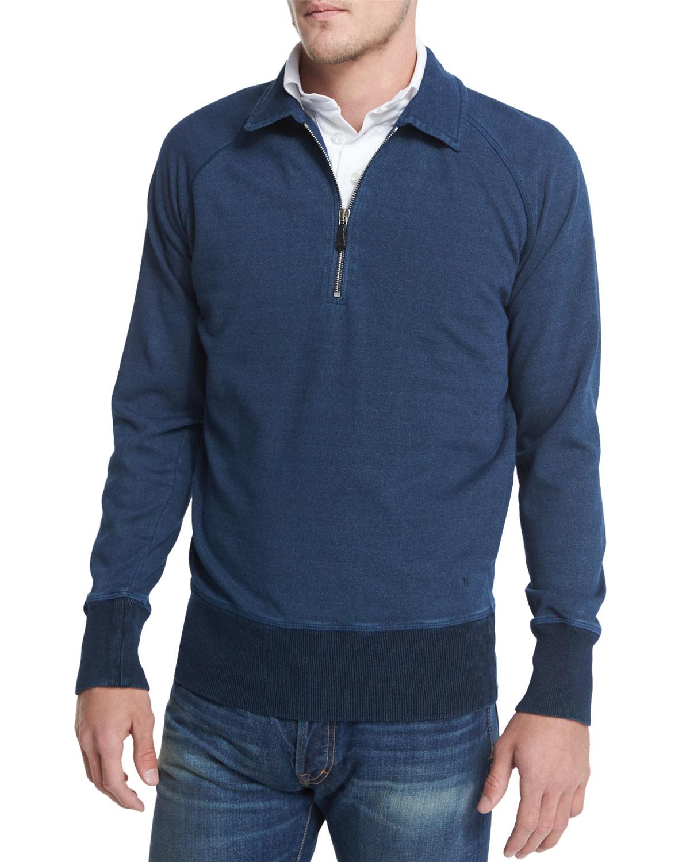 tom ford denim half zip polo sweatshirt in blue lyst. Black Bedroom Furniture Sets. Home Design Ideas