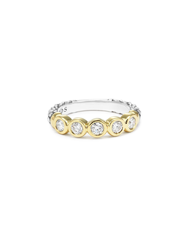 lagos 18k gold silver caviar 5 stacking ring in