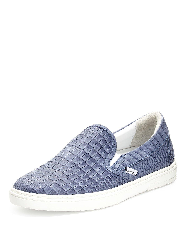 jimmy choo grove men 39 s crocodile embossed slip on sneaker in blue for men lyst. Black Bedroom Furniture Sets. Home Design Ideas