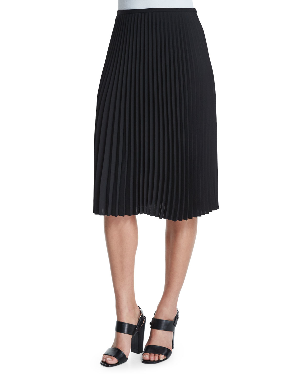 michael kors micro pleated a line skirt in black save 64