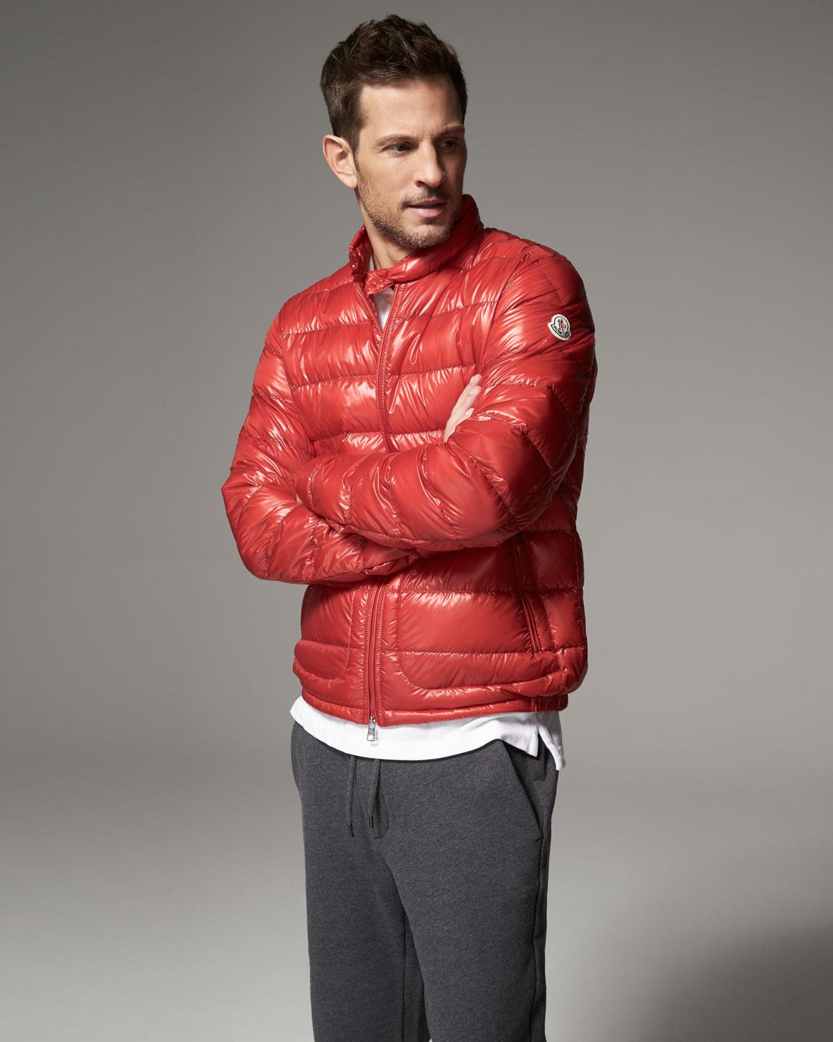 85ab3fbb5 Moncler Red Acorus Quilted Nylon Puffer Jacket for men