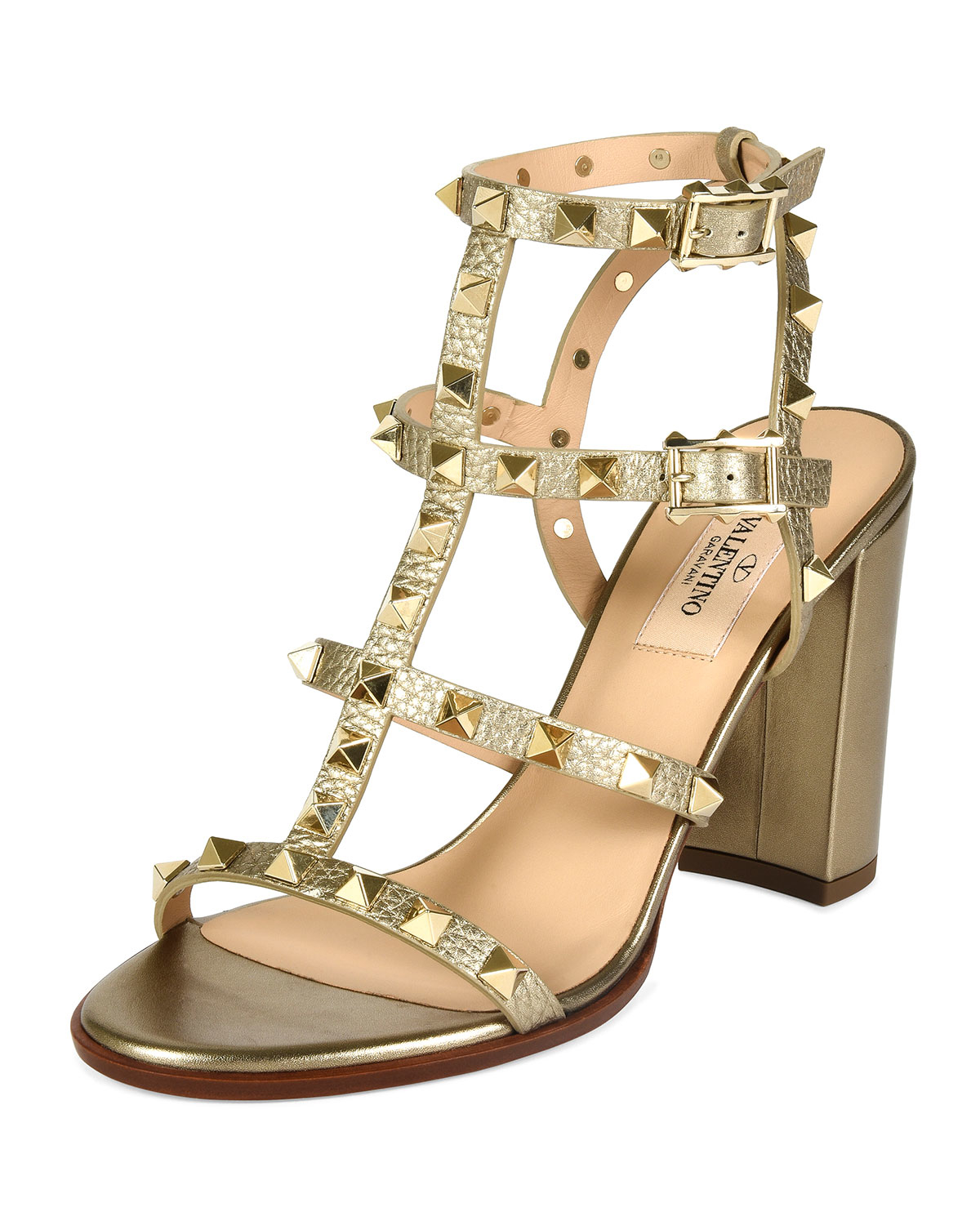 9cd58496b63 Lyst - Valentino Rockstud 90mm Metallic-Leather Sandals in Metallic
