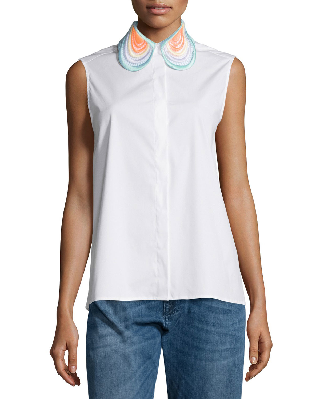 White cotton sleeveless blouse with collar black dressy for Sleeveless white shirt with collar