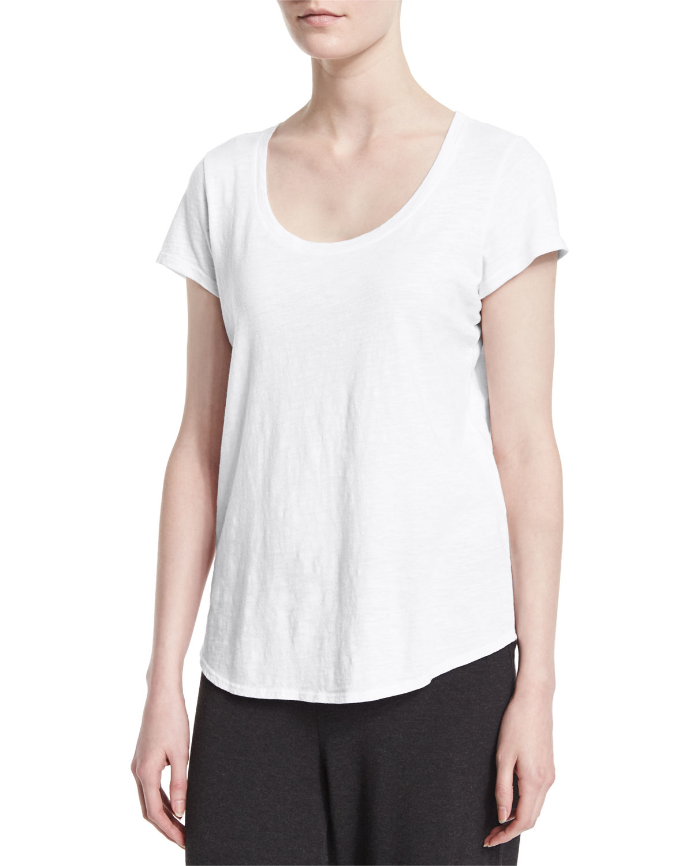 Eileen Fisher Slubby Short Sleeve Scoop Neck Tee In White