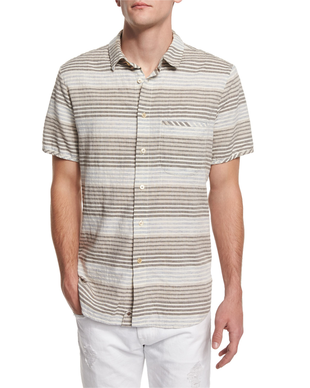 7 for all mankind horizontal stripe short sleeve shirt in for Horizontal striped dress shirts men