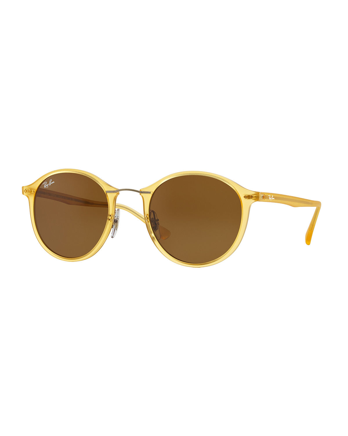 ray ban round plastic metal sunglasses in yellow lyst. Black Bedroom Furniture Sets. Home Design Ideas
