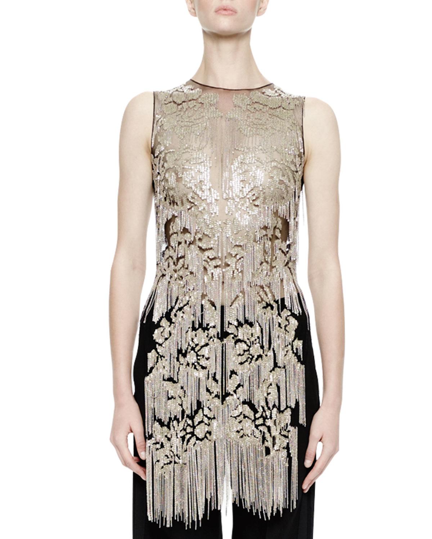 Finishline Sale Online Alexander McQueen Sleeveless Metallic Top Clearance Best Seller fFvJcg