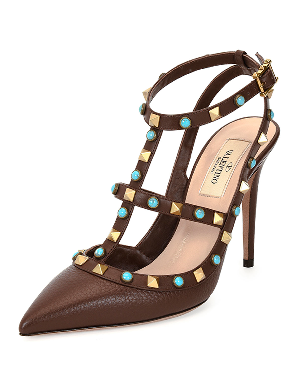 valentino rockstud leather t strap pump in brown lyst. Black Bedroom Furniture Sets. Home Design Ideas