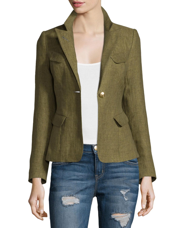 Lyst smythe classic one button linen blazer for Smythe designer