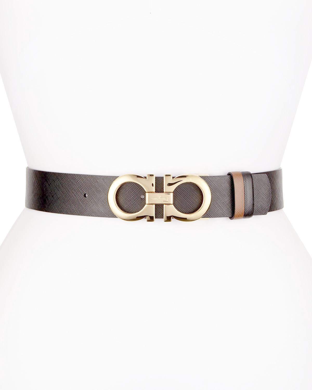 ferragamo reversible saffiano leather gancini belt in