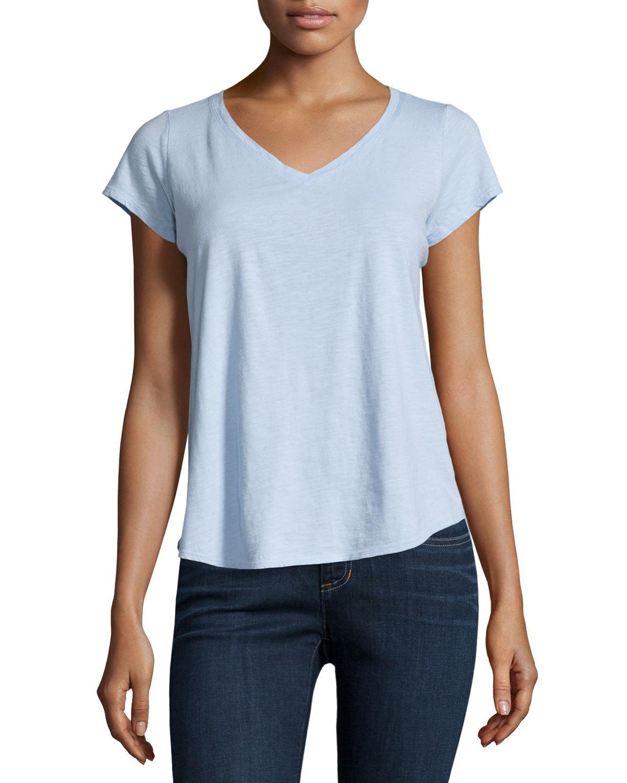 Eileen fisher short sleeve organic cotton v neck tee in for Eileen fisher organic cotton t shirt