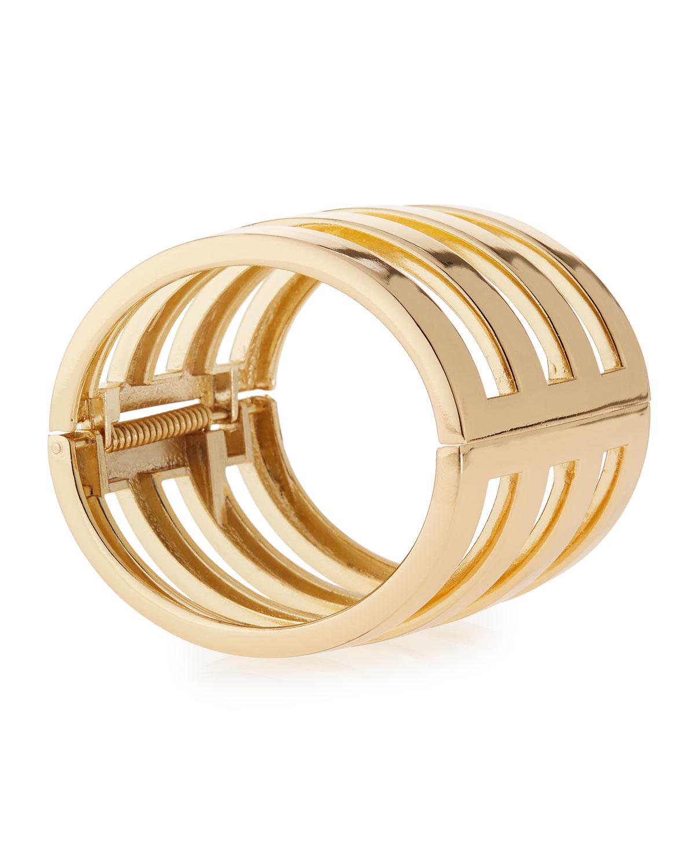 r j graziano cage cuff bracelet in metallic lyst