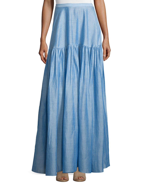 co high waist tiered maxi skirt in blue light blue lyst