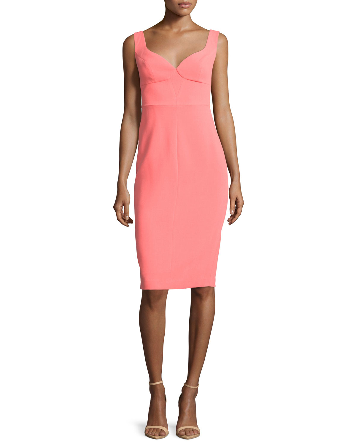 Black halo sleeveless sweetheart neck sheath dress in pink for Neiman marcus dresses for wedding guest