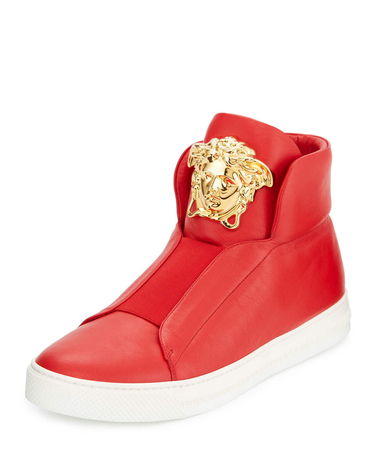 Versace Palazzo Idol Leather High-top Sneaker in Red | Lyst