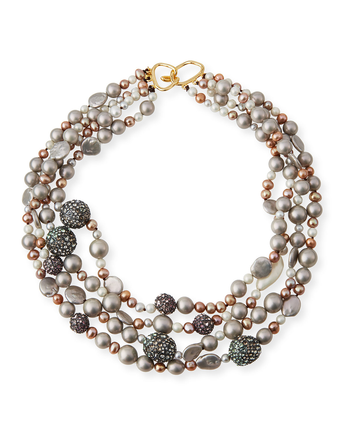 robert morris pav 233 nugget necklace necklaces bittar three strand pearly bead pav 233 sphere bib