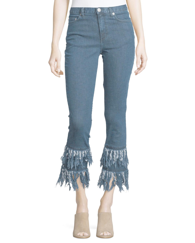 N nicholas Frayed-hem Cropped Flare-leg Jeans in Blue (Mid ...