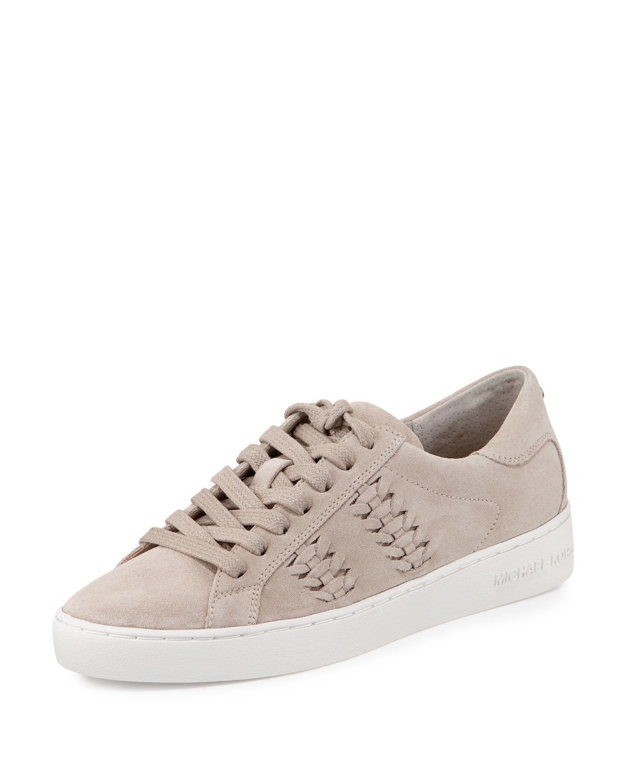 michael michael kors stevie woven suede low top sneaker in gray lyst. Black Bedroom Furniture Sets. Home Design Ideas