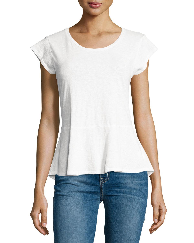Lyst - Velvet Itzel Cap-sleeve Cotton Peplum Top in White