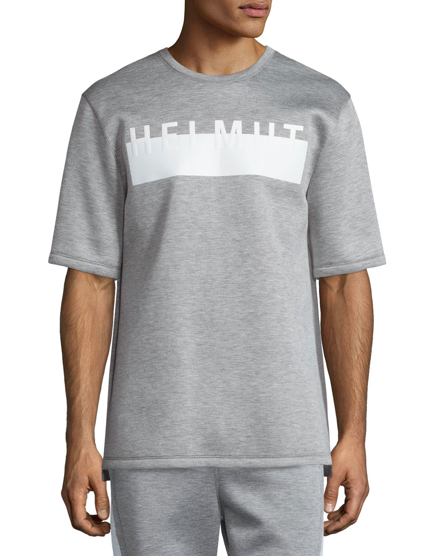 Helmut lang logo short sleeve oversized t shirt in gray for Helmut lang tee shirts