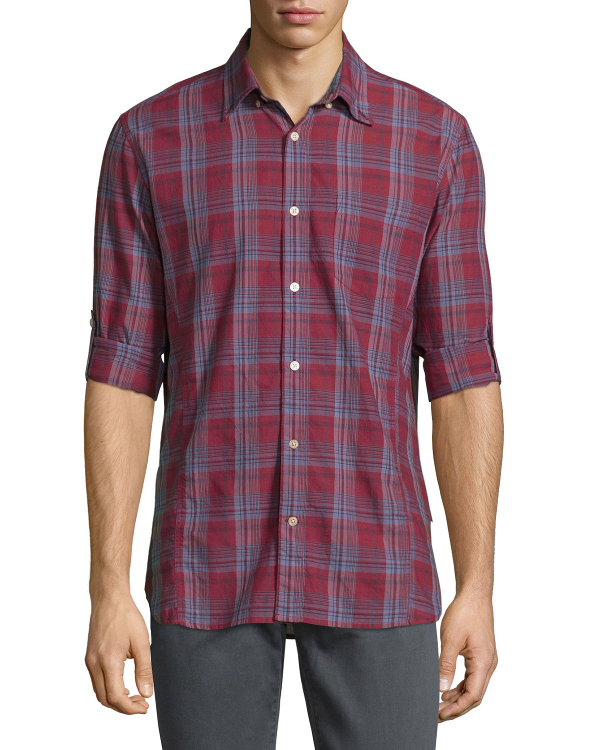 John Varvatos Plaid Roll Tab Sleeve Sport Shirt In Red For