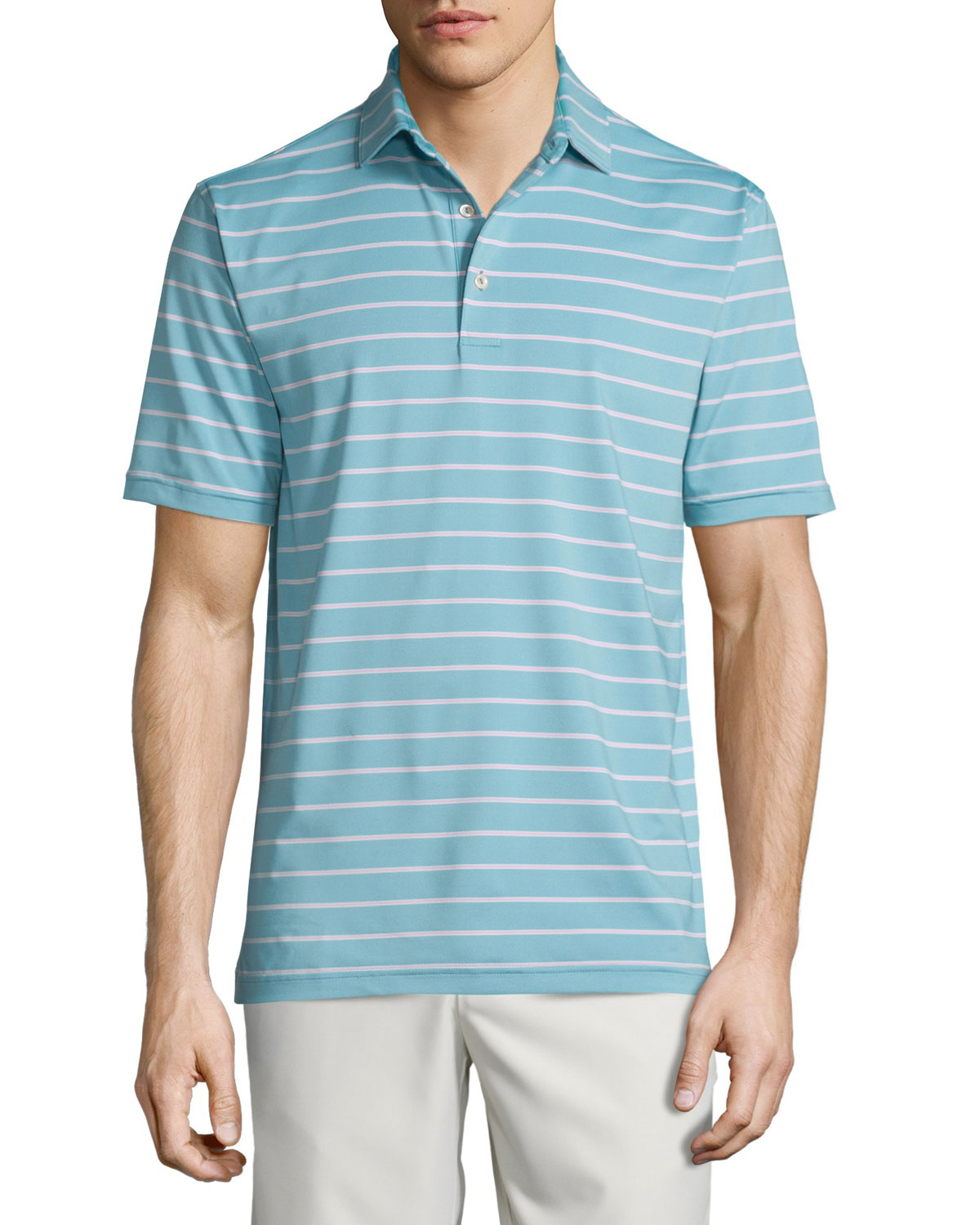 Peter millar tradeshow striped short sleeve jersey polo for Peter millar polo shirts