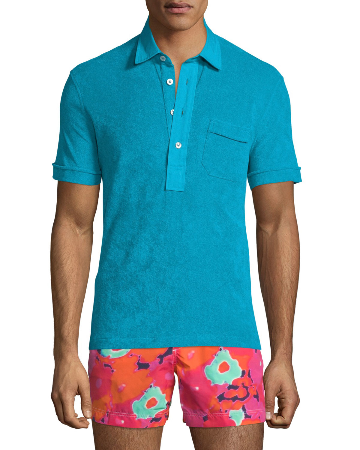 lyst tom ford terry cloth short sleeve polo shirt in
