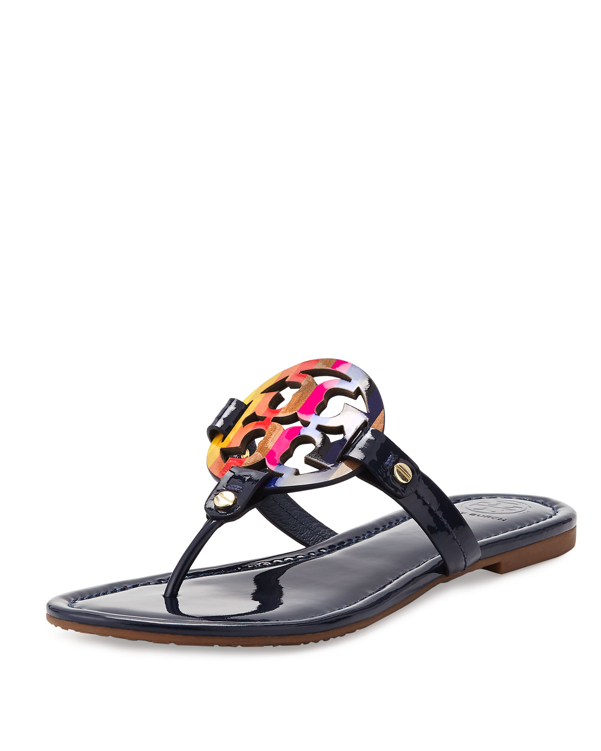 54c66c80268536 Lyst - Tory Burch Miller Rainbow Patent-Leather Logo Sandals in Black