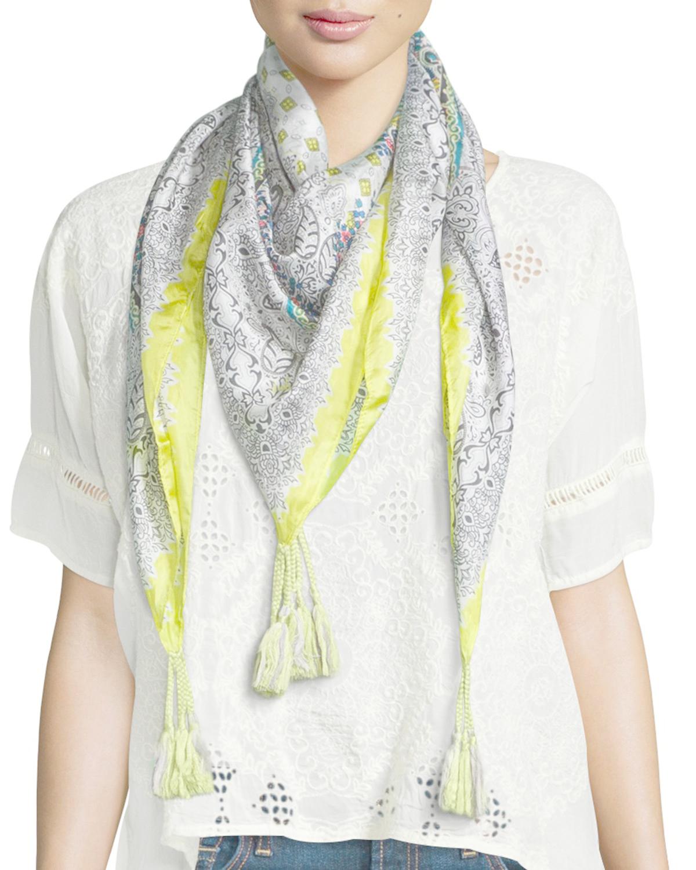 johnny was randi printed silk georgette square scarf lyst
