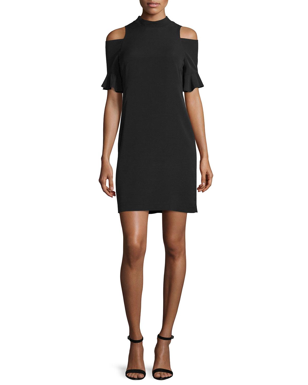Rebecca taylor cold shoulder shift dress in black lyst for Neiman marcus dresses for wedding guest