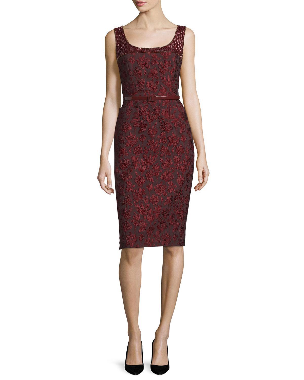 escada sleeveless embellished sheath dress w belt lyst