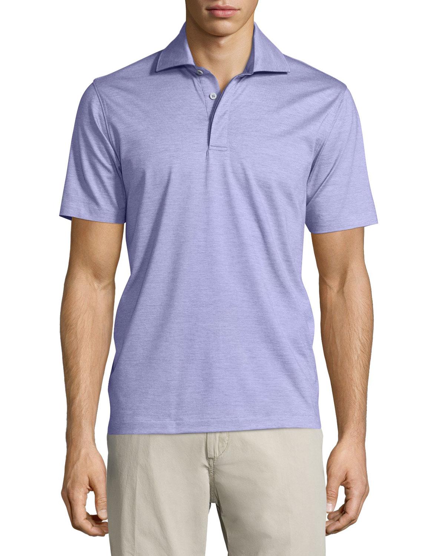 Lyst ermenegildo zegna 1x1 knit polo shirt for men for Knitted polo shirt mens