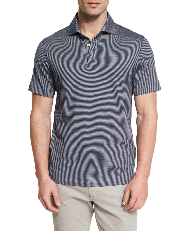 Ermenegildo zegna micro striped cotton blend short sleeve for Zegna polo shirts sale