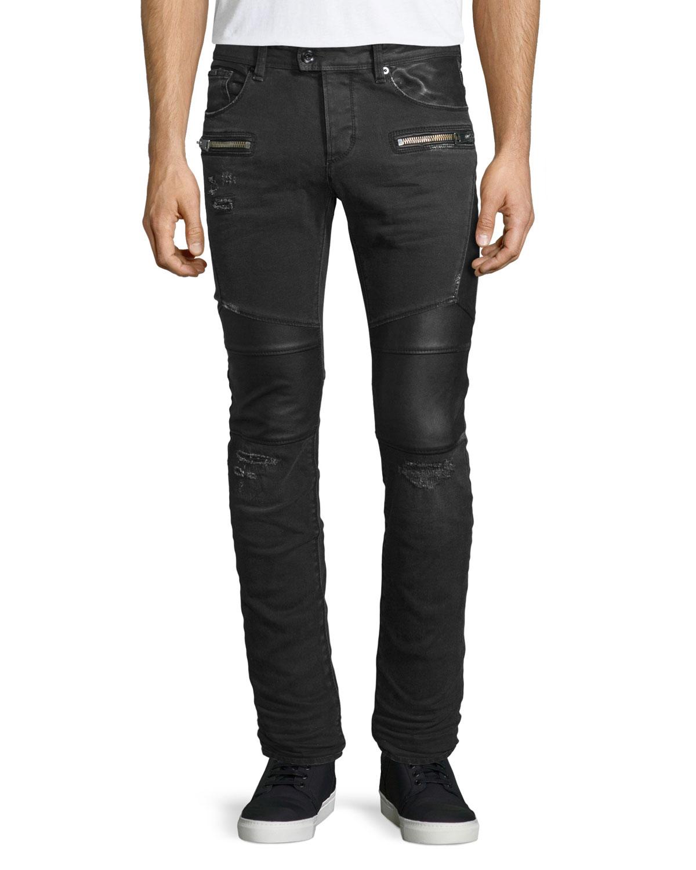 just cavalli destroyed stretch biker denim jeans in black for men lyst. Black Bedroom Furniture Sets. Home Design Ideas