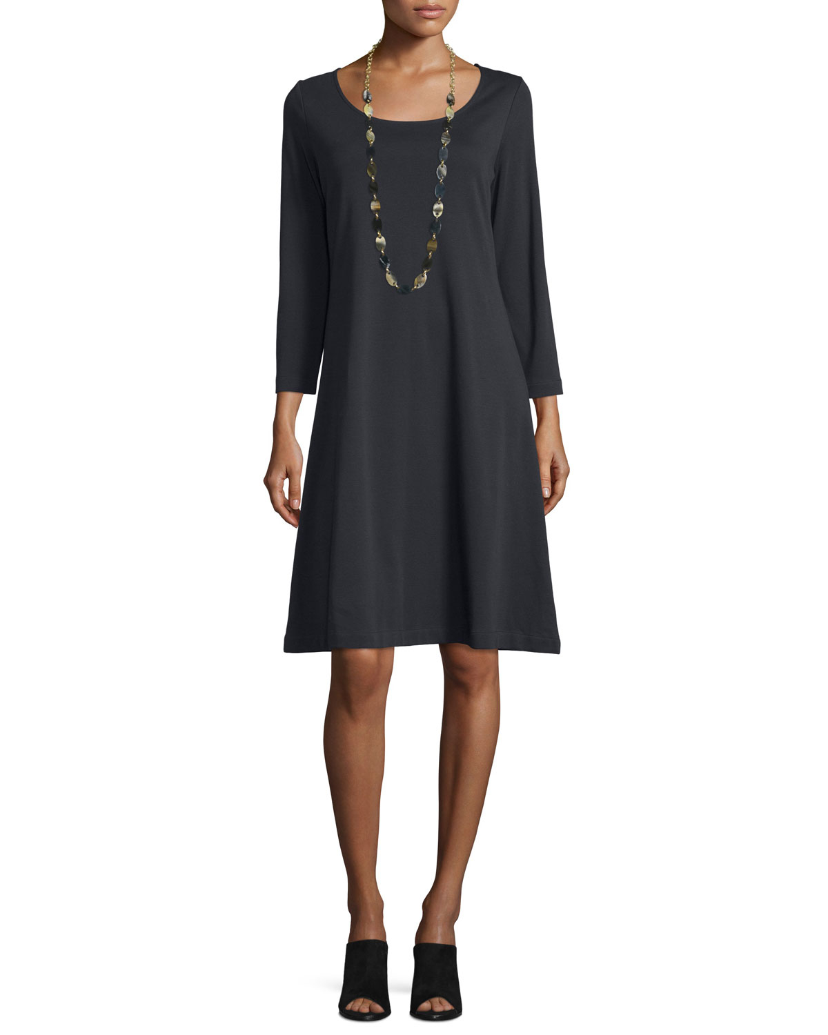 Joan Vass 3/4-sleeve Cotton Interlock A-line Dress