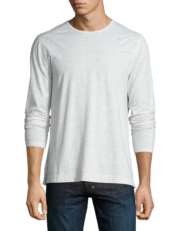 Vince cotton blend long sleeve t shirt in white for men for White cotton long sleeve t shirt